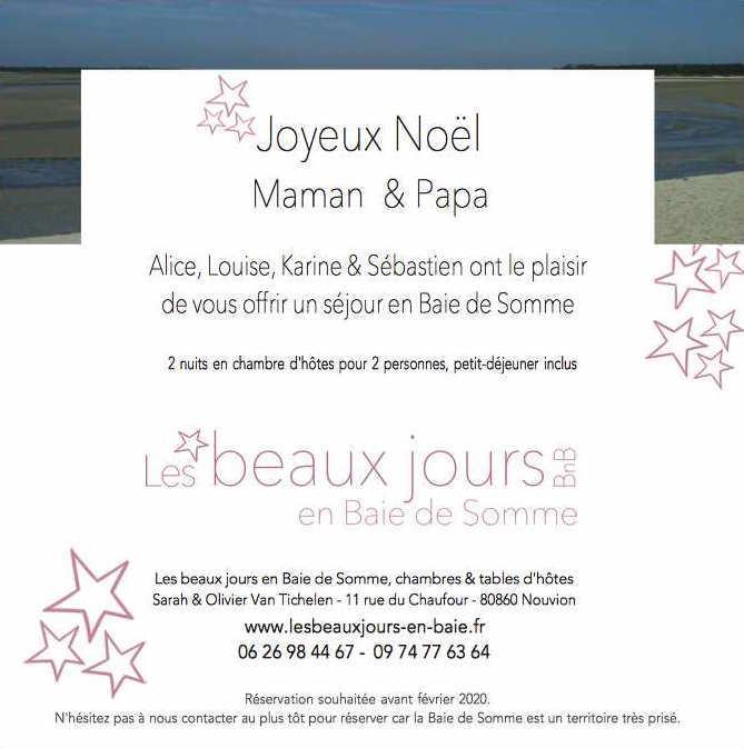 Pour Noël, offrez un sejour en Baie de Somme, carte cadeau les beaux jours en Baie de Somme