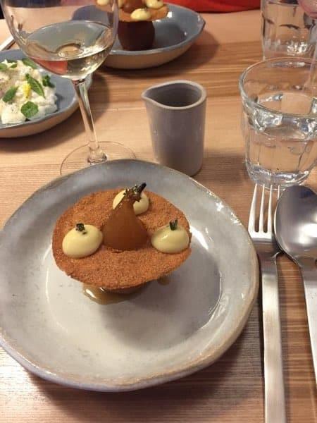 """Dessert d'automne autour de la poire. restaurant """"Baie Table d'hôtes"""" à Saint-Valery-sur-Somme"""