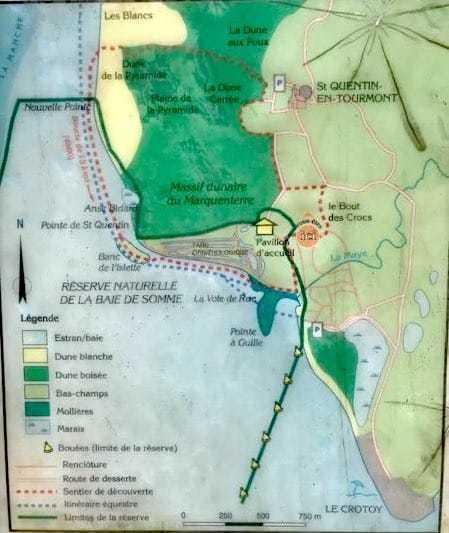 Plan du sentier des Bergers, entre Baie de Somme et Marquenterre