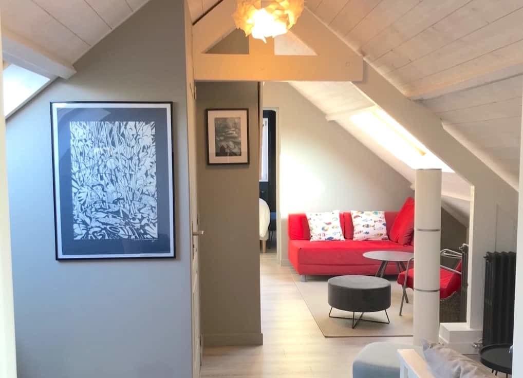 Comme un petit appartement, la suite de 45m2 est idéale pour les séjours en Baie de Somme un peu plus longs